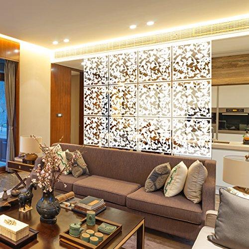 languan 12Schmetterling Blumen und Vogel Kunststoff zum Aufhängen Bildschirm Vorhang Raumteiler Partition white01