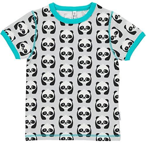 Maxomorra Mädchen T-Shirt Kurzarm Grau Panda Bär GOTS Biobaumwolle - Größe: 98/104 -