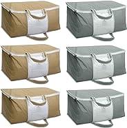 HomeStrap Set of 6 Underbed Storage Bag, Storage Organizer, Blanket Cover with Front Handle - Grey & Beige