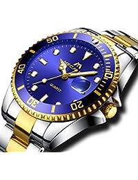 Relojes Hombre Acero Inoxidable Reloj de Pulsera de Lujo Moda Impermeable Fecha Calendario Clásicos Analogicos Reloj de Cuarzo para Hombres Negocio Casual con Dial Grande Azul Correa de Plata Oro