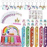 82 Pezzi Gadget Unicorno Compleanno Bambini, Portachiavi Unicorno Braccialetti Slap Sacchetti Unicorno Timbri Bambini Tatuaggi Temporanei Bambini Unicorno Anelli, Unicorno Festa Regalo