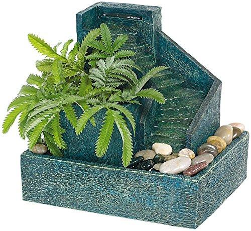 Mostromania - fontanella per interni con piante e gradini in pietra - decorazione floreale e acquatica - flusso d'acqua - atmosfere rilassanti - idea regalo per lei - regali di natale