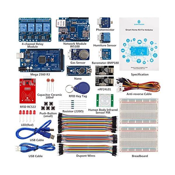 SunFounder Smart Home IoT Internet of Things Starter Kit V2 0 for Arduino,  DIY Projects Sensor Modules for Intelligent Living Home System W5100 Mega