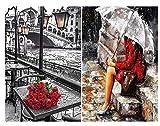 Generic Malen Nach Zahlen Digitales Malen, Warten Auf Liebe, Heimtextilien Malen, Leinwandbild, Handbemalt, DIY Ölgemälde, Regen Modern-40X50CM