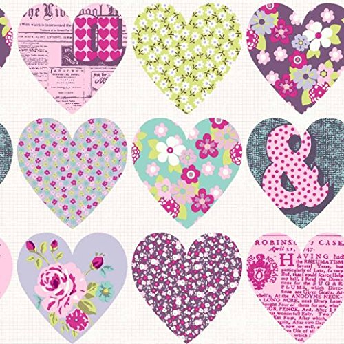 Arthouse Imagine Fun Patchwork Heart Purple Wallpaper 668501 - Childrens Floral by Arthouse