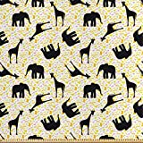 ABAKUHAUS Giraffe Stoff als Meterware, Zoo Tiere fleckig,