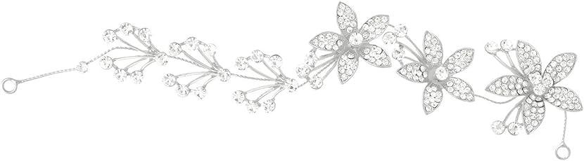 Aaishwarya Floral Crystal Silver Non-Precious Metal Head Band for Women