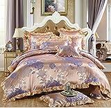 Unimall Luxuriöse Bettwäsche Garnitur exquisite Jacquard-Jersey Satin Orientalisch mit gesticktes Blumenmuster Bettbezug 220 x 240 cm + Bettlacken + 2x Kopfkissenbezug