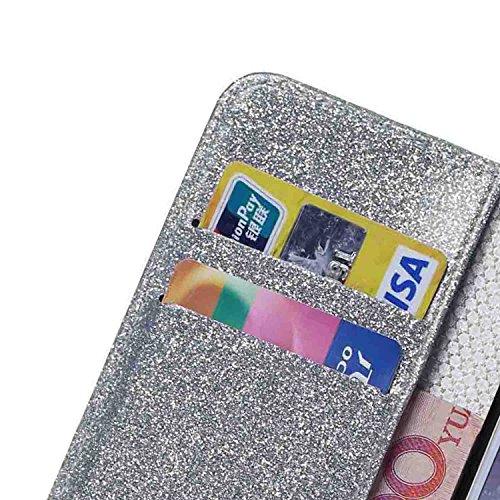 iPhone 7 Plus Hülle,iPhone 7 Plus Handyhülle iPhone 7 Plus Wallet Case Cover Tasche [Flash Pulver] Brieftasche Flip Hülle im Bookstyle Cover Schale Etui Karten Slot Schutzhülle Für iPhone 7 Plus Leder Silber
