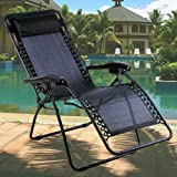 Black Textoline Zero Gravity Reclining Garden Sun Lounger Chair RRP £99.99