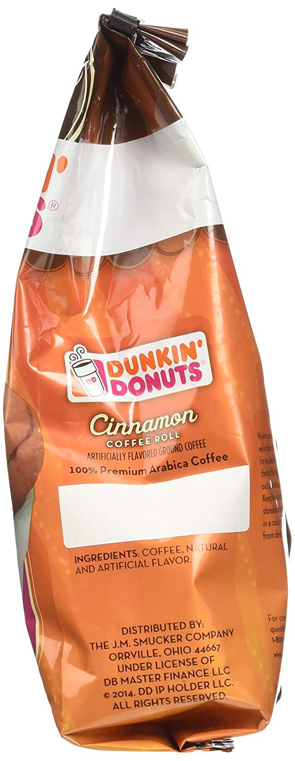 Dunkin' Donuts Bakery Series Cinnamon Coffee Roll Flavoured Ground Coffee – (Comes in 1, 2, and 3-Pack Options) – American Imported Roasted Kaffee, 311 Grams (11 Oz.)