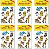 6-teiliges Glitter-Sticker-Set * ZOOTIERE * vom Mauder Verlag | Kinder Aufkleber Kindergeburtstag Geburtstag Mitgebsel Geschenk Mädchen Glitzer Zoo Elefant Giraffe Affe Löwe Tiger Pinguin Papagei