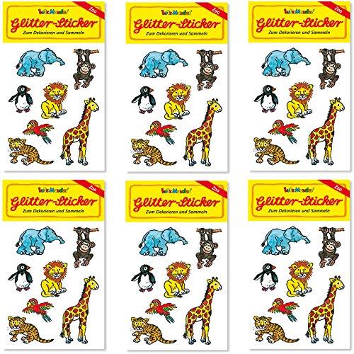 6-teiliges Glitter-Sticker-Set * ZOOTIERE * vom Mauder Verlag | Kinder Aufkleber Kindergeburtstag Geburtstag Mitgebsel Geschenk Mädchen Glitzer Zoo Elefant Giraffe AFFE Löwe Tiger Pinguin Papagei Tiger Aufkleber