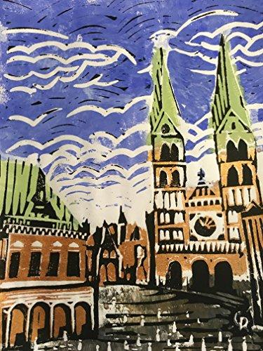 Bremen Rathaus und Dom - Linolschnitt, von Hand einzeln gedruckt, etwa 15x20cm, Limitiert auf 10...