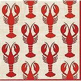 Caspari Paper Cocktail Napkin, Lobsters