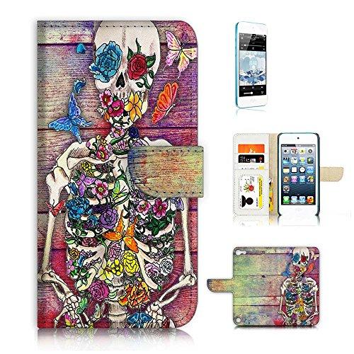 (für iPod Touch 5/iTouch 5) Flip Wallet Case Cover und Displayschutzfolie Bundle a20325Sugar Skull Skelett (Skelett Touch Ipod 5 Fall)