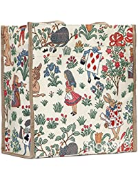 Alice in Wonderland Shopper Bag by Signare | Womens Shoulder Shopping Recycling Soft Reusable Tote | 31x30x13.5 cm | (SHOP-ALICE)