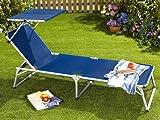 Sonnenliege FLORABEST Alu Liege mit Sonnendach Gartenliege Rückenlehne 5stufig