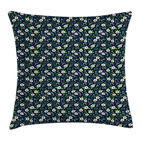 Vintage Throw Pillow Cushion Cover by, Daisies with Fresh Leaves Spring Revival of The World Season, Decorative Square Accent Pillow Case, 18 X 18 inches, Dark Blue Marigold Fern Green