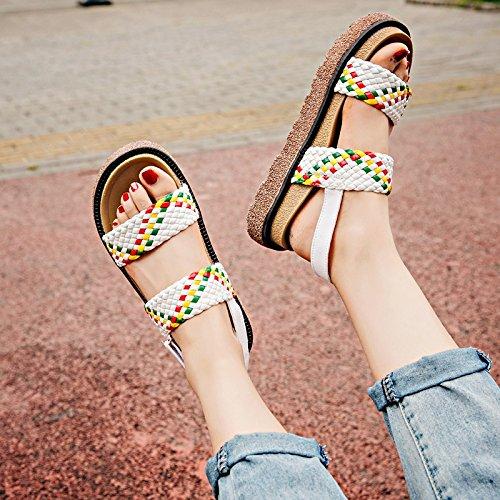 RUGAI-UE Le donne del vento estivo sandali retrò le suole spesse scarpe White