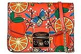 Borsa a tracolla Furla Metropolis in pelle arancione con arance e farfalle