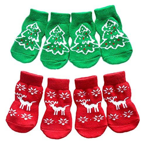 AIYUE® Weihnachten Hund Socken Pfotenschutz süßen Weihnacht Muster Hundsocken Baumwolle Anti-Rutsch Socken warme Winter Pet Rutschfeste Socken, 2 x 4pcs (Ziehen Stiefel Auf Winter Schnee)