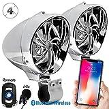 "GoldenHawk 4"" Waterproof Bluetooth Wireless Motorcycle Stereo Speakers 7/8-1.25 in. Handlebar Mount MP3"