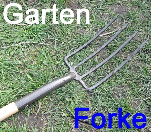 Forke massiv Metall mit Holzstiel und T-Griff, Garten Mist Gabel Forke Mistgabel (LHS) (T-griff Haken)