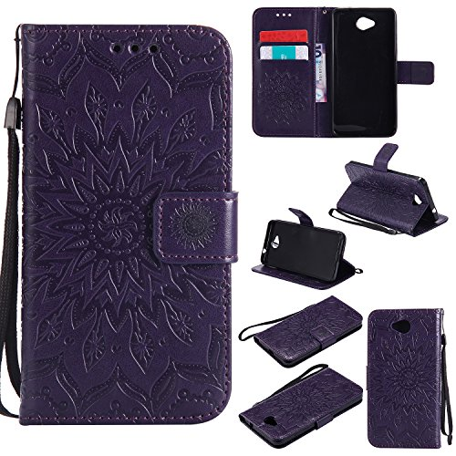 YYhin Schutzfolie für Microsoft Lumia 650/Lumia 650 Dual-SIM hülle, Cartera Wallet Leder abnehmbare magnetische abnehmbare Tasche mit Flip Schutzhülle Case.(Lila)