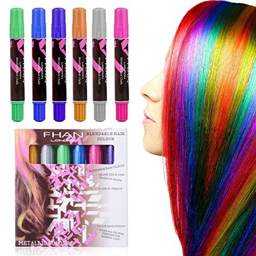 Haarkreide verschiedene Farben Haarfarbe dauert zu 2-3 Tage, perfekt auf allen Arten der Haarfarbe für Kinder und Teenager Karneval, Halloween und Partys usw(Mehrfabig) (Teenager Halloween)
