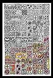 Zenbroidery - Kit de Bordado, Tela Estampada, algodón, Estilo cubista, Color Blanco