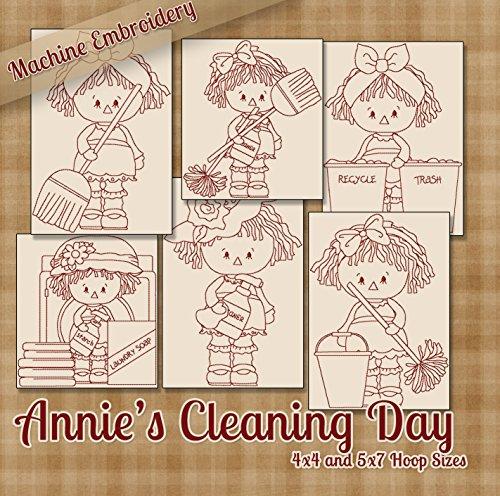 Annie 's reinigt House Redwork Raggedy Ann Stickerei Maschine Designs auf CD-Multi - Redwork-design