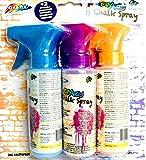 CRAZY Kreide Spray mit 2 Schablonen ab 5 Jahren - 3 verschiedenen Farben -