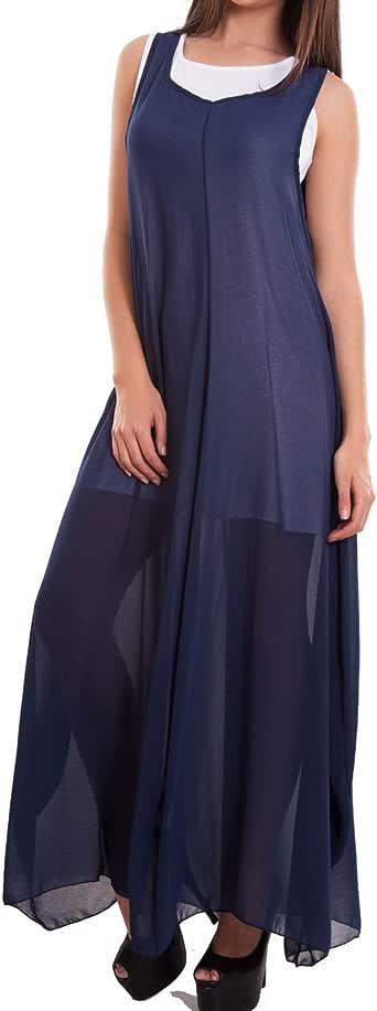 Vestito donna abito lungo maxi ampio doppio esterno velato casual nuovo CR-2178