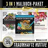 3 IN 1: Malbuch für Erwachsene (120 Motive - Blumensträuße, Blumen-Mandalas, Vogelparadies bei Nacht)