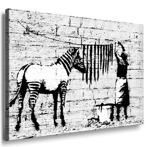 Banksy ' WASHING ZEBRA' # 9813 Kunst auf Leinwand Bild 120x80cm k. Poster ! Bild fertig auf...