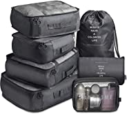 7 Pack Packing Cubes Value Set for Travel Luggage Organiser Bag Compression Pouches Clothes Suitcase Packing Organizers Set w
