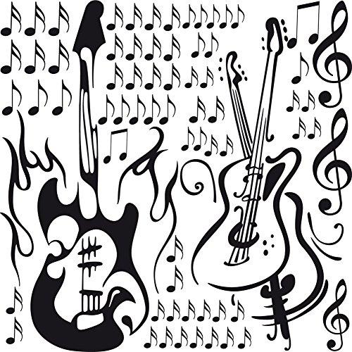 GRAZDesign 770068_57_070 Wandtattoo Musik - Set mit Gitarren Musiknoten Noten | Für Musikräume - Kinderzimmer - Jugendzimmer | Wand-Dekoration aus Selbstklebender Folie (57x57cm//070 Schwarz) (Note Wand-dekorationen)