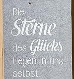 Vorhang Wandteppich GILDE Schlaufen in Grau mit Sterne und Spruch Die Sterne des Glücks liegen in uns selbst... ca 240 x 45cm