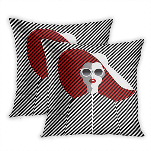 Nekkzi Cushion Covers Set of Two Print Beautiful Young Woman with Sunglasses and Hat Retro Style Pop Summer Holiday Sofa Home Decorative Throw Pillow Cover 16x16 Inch Pillowcase Hidden Zipper