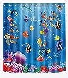 LB Cartoon Fisch Ozean Duschvorhang,Wasserdicht Schimmelresistent Polyester Fabrik Badvorhänge für Badezimmer,180 * 180cm mit 12 Ringen