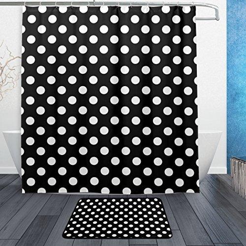 My Daily Classic schwarz und weiß Polka Dot Duschvorhang 167,6x 182,9cm mit Badteppich Teppich & Haken, schimmelresistent & Wasserdicht Polyester Dekoration Badezimmer Vorhang Set