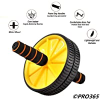 PRO365 Double Ab Wheel Roller Core Abdominal Workout Safety Blue Knee Mat (Yellow Color)