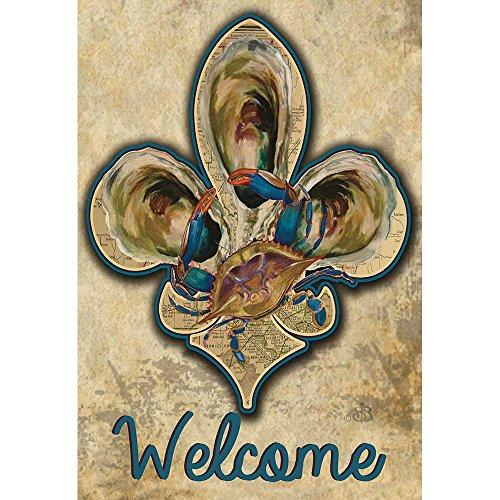 Welcome Krabben und alte Papier Karte Fleur de Lis 44x 30rechteckig Siebdruck großes Haus Flagge (44 Bhs)