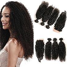 48aec31a4bff Daimer Cheveux Brésiliens Courbés kinky curly 3 bundle avec 4x4 fermeture  de lacet Tissage Bouclé Naturel