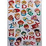 JUSTFOX - 3D Kinder Alphabet Wandsticker Wanddeko Wandtattoo Wandaufkleber