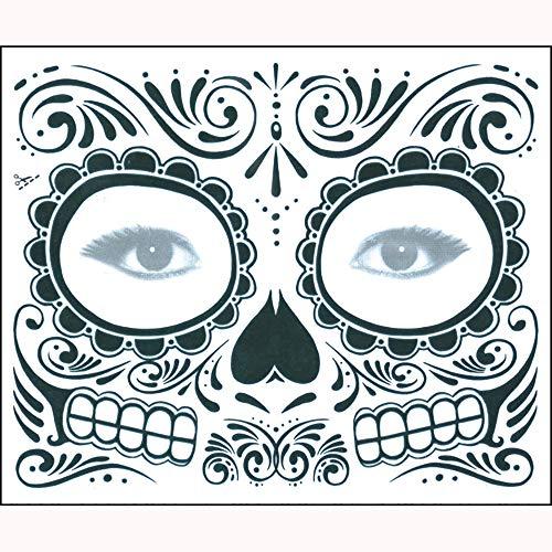 CANDLLY Halloween Dekoration Cosplay Beauty Gesichtsaufkleber 2 STÜCKE Tag Der Toten Dia de Los Muertos Gesichtsmaske Zuckerschädel Tattoo Schönheit Party - Mumie Der Königin Für Erwachsene Kostüm