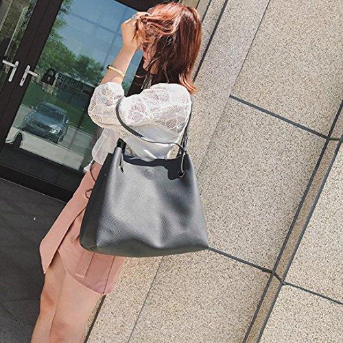 Paquete De Cuenta Regresiva En Línea Longra Solid Color Women Pelle artificiale 2 pezzi Set Fashion Lichee Pattern Borsa a tracolla singola + borsa a mano Grigio scuro Sneakernews En Venta 626yGNzFIB