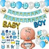 Danxian Babyparty deco set XXL jongen - decoratie baby shower voor jongens - It's A Boy Baby Shower slinger, foto rekwisieten, baby boy aluminium folieballonnen en 20 stuks luchtballonnen