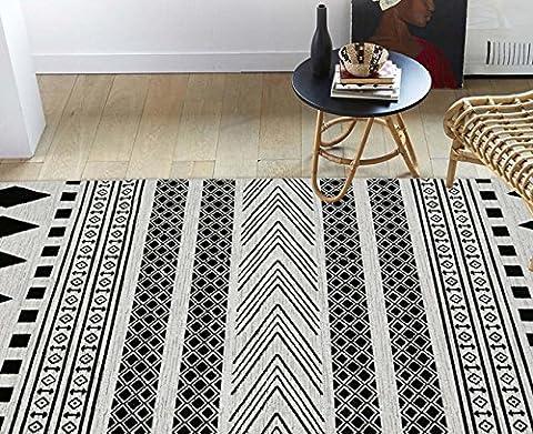 Simple et moderne Tapis Table basse de salon Canapé Tapis de sol Chambre à coucher complète Couverture Lit Tatami Mat Noir et blanc style géométrique Tapis, 130*190cm